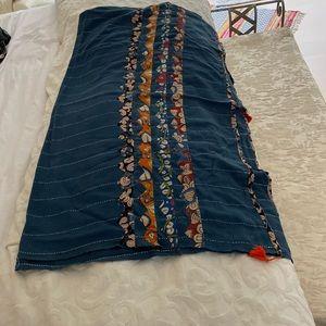 Hand stitched indigo patchwork throw